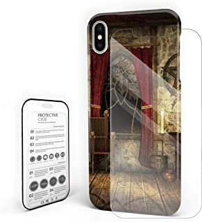 Case for iPhone 7 Plus/iPhone 8 Plus Retro Witch Room Old Window Desk and Chair Professional Hard PC Material Shockproof Protective Case,Custom Cover for iPhone