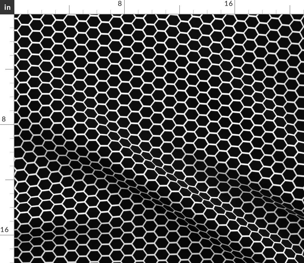Limited time for free shipping Spoonflower Fabric - Geometric Hexagon Black Gra Honeycomb White low-pricing