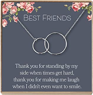 Best Friend Necklace: BFF Necklace, Long Distance, Friends Forever, 2 Interlocking Circles