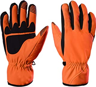 DIEBELLAU Full Finger Bike Cycling Winter Thermal Ski Gloves Touch Screen Warm Motorcycle Bicycle for Men & Women (Color : Orange, Size : S)