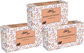 Mirah Belle - Organic Sandalwood Turmeric (Haldi Chandan) Healing Soap Bar (Pack of 3) - For Acne, Breakouts and Pimples - Helps Brighten and Even Skin Tone - Face and Body Soap for Men and Women - Vegan, Natural, Cruelty Free and Handmade Soap - Sulfate and Paraben Free - 375 gms