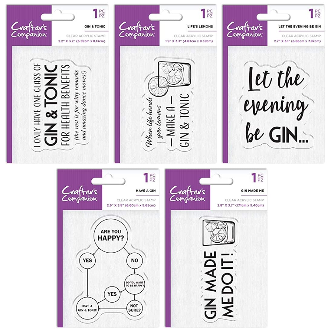 Crafter's Companion Quirky Acrylic Stamp Gin Bundle, Various
