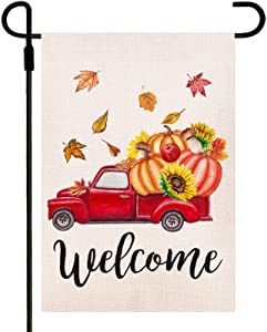Welcome Fall Garden Flag Red Truck with Sunflowers Pumpkins Garden Flag, Burlap Double Sided Small Yard Flag Thanksgiving Fall Outdoor Decoration 12.5 x 18 Inches