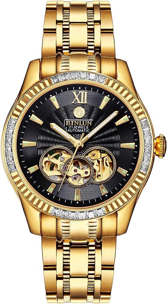 Binlun orologio da uomo scheletro luminoso automatico placcato in oro 18 carati GMBL0048G-GGB-B