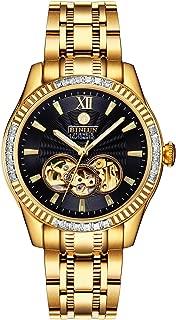 Men's Automatic 18K Gold-Plated Watch Luminous Luxury Skeleton Waterproof Watches