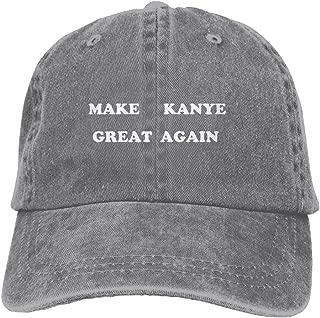 Make Kanye Great Again Dad Hat Baseball Cap Trucker Cap Washed Denim Cotton Adjustable Ash