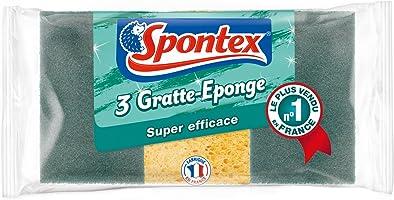 SPONTEX - Gratte-Eponge Super Efficace - 3 éponges grattantes vertes (1 paquet de 3)