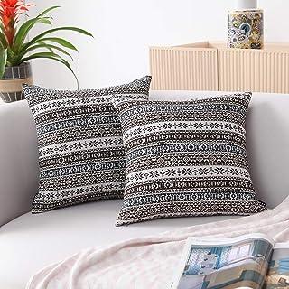 JSBYY Bohemian Throw Pillow Covers Super Farmhouse Cushion Cases Set of 2 45x45 cm 18x18 in