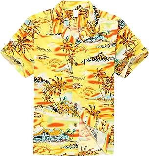 Palm Wave Men's Hawaiian Shirt Aloha Shirt XL Yellow Sunset Scenic Palm