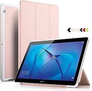 ELTD Huawei MediaPad T3 10 Funda Carcasa, Ultra Delgado Silm Stand Función Smart Fundas Duras Cover Case para Huawei MediaPad T3 10 Tableta (Oro Rosa)