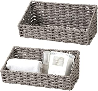 2 Pcs Hanging Storage Baskets for Kitchen Pantry Wicker Baskets for Bathroome Wall Mount Basket with Hook Decorative Baske...