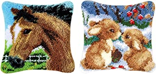 Prettyia 2 Sets Latch Hook Kits for Beginners DIY Horse Rabbit Pillow Cover Sofa Cushion Crafts 43 x 43cm
