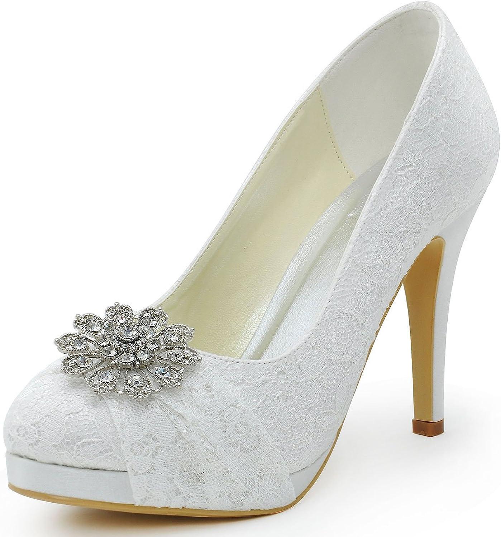Elegantpark HC1413P Women Round Toe Stiletto Heel Platform Rhinestones Lace Bridal Wedding shoes