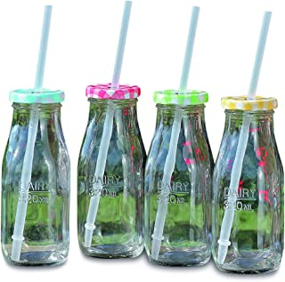 Americana Heritage Home Milk Jars Drinking Cups, Lids, and Reusable Straws, Set of 4, Rustic Multi-Color Tops, (10.8 fluid ounces/ 320 ml) Bottle Style