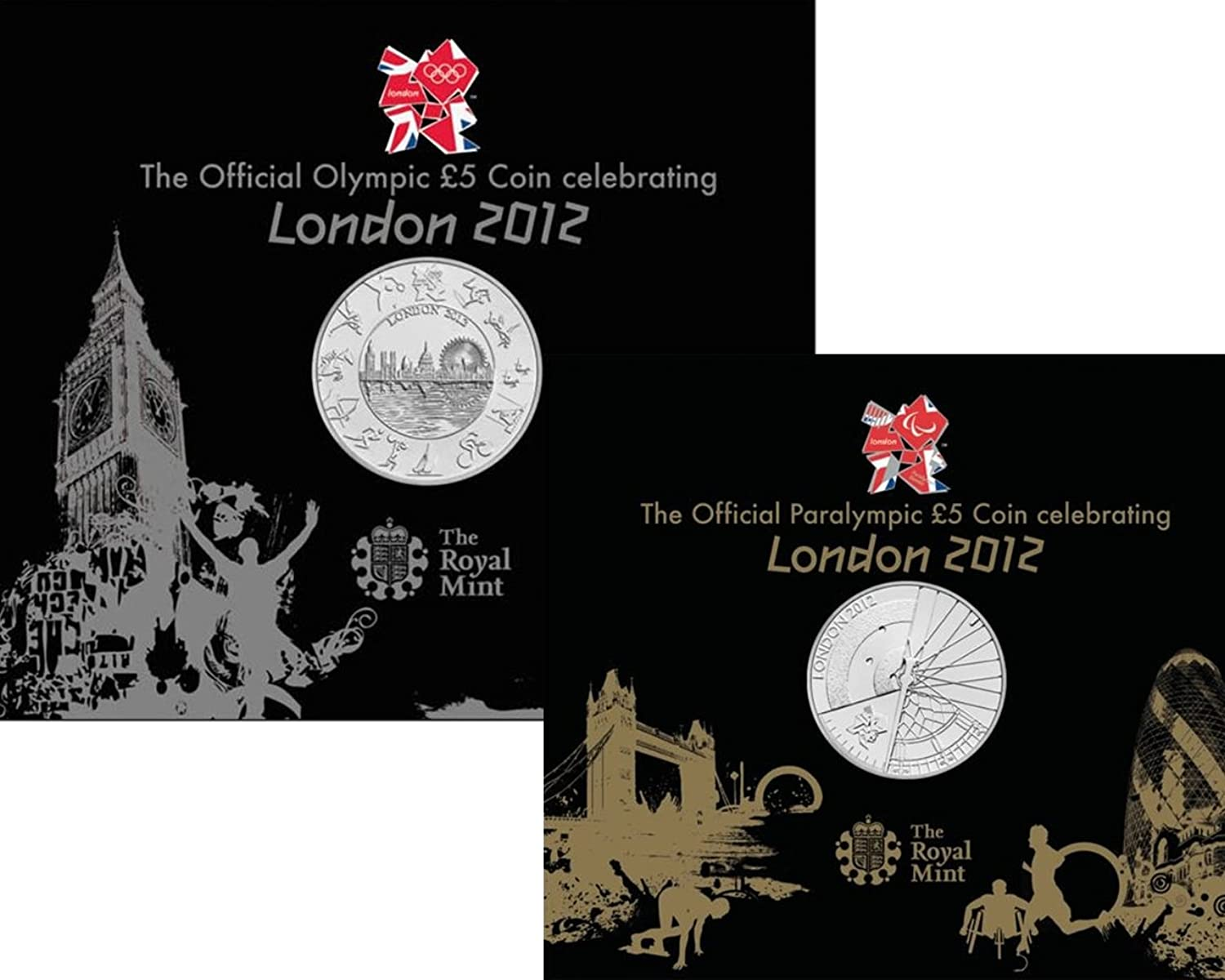 TWIN PACK The London 2012 OLYMPIC & PARALYMPIC Brilliant Uncirculated £5 Coins