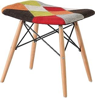 Silla de retazos Tejido Retro Silla multicolor Sofá taburete Silla de oficina Silla vintage con patas de madera para sala ...