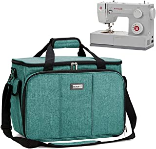 HOMEST Sewing Machine Carrying Case with Multiple Storage Pockets, Universal Tote Bag with Shoulder Strap Compatible with Most Standard Singer, Brother, Janome (Green)
