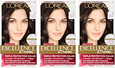L'Oreal Paris Excellence Creme Permanent Hair Color, 3 Natural Black (Pack of 3)