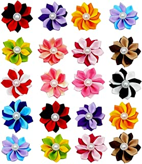 JpGdn 40pcs/(20pairs) Dog Hair Bows with Clips Hair Bow Ties for Puppy Doggy Cat Small and Medium Animals Hair Flowers Grooming Accessories