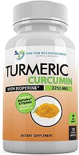 Turmeric Curcumin - 2250mg/d - 120 Veggie Capsules - 95% Curcuminoids with Black Pepper Extract (Bioperine) - 100% Organic...