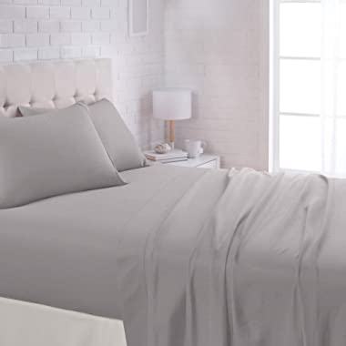 AmazonBasics Lightweight Super Soft Easy Care Microfiber Bed Sheet Set with 16  Deep Pockets - Queen, Dark Grey