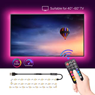"""HitLights LED Strip Lights, 6.56ft RGB LED Strip for 40""""-60"""" TV, PC Backlights Color Changing 5050 Zigzag Wave LED Strips Kit with RF Remote, Connector, Bias Lighting Improve Viewing Effects"""