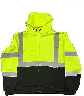 3C Products SAJ6700, ANSI/ISEA Class 3, Men's Safety Fleece Hoodie Jacket, Reflective, Pockets, Neon Green w/Black Bottom