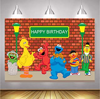 TJ 5x3FT Sesame Street Brick Wall Photography Backdrops Boy Girl Birthday Party Theme Photo Booth Background Baby Shower Banner Decoration Supplies Vinyl