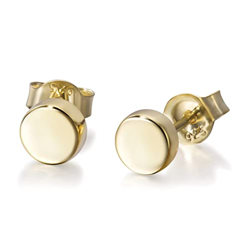3ed2346d8 Sterling Silver Dot Circle Earrings Round Disc Earrings Tiny Stud Earrings  Minimalist Earrings