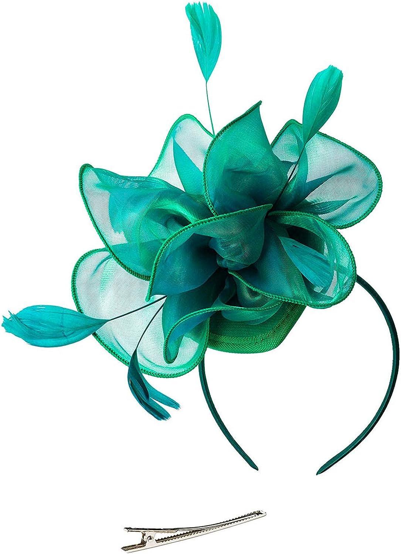Panba Organza Fascinators Hat for Women Flower Feathers Hair Clip Church Kentucky Derby Bridal Tea Party Wedding Hat
