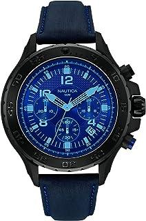 ساعة كوارتز للرجال من نوتيكا مينا سوداء وعرض انالوج وسوار اسود، طراز Nai21008G