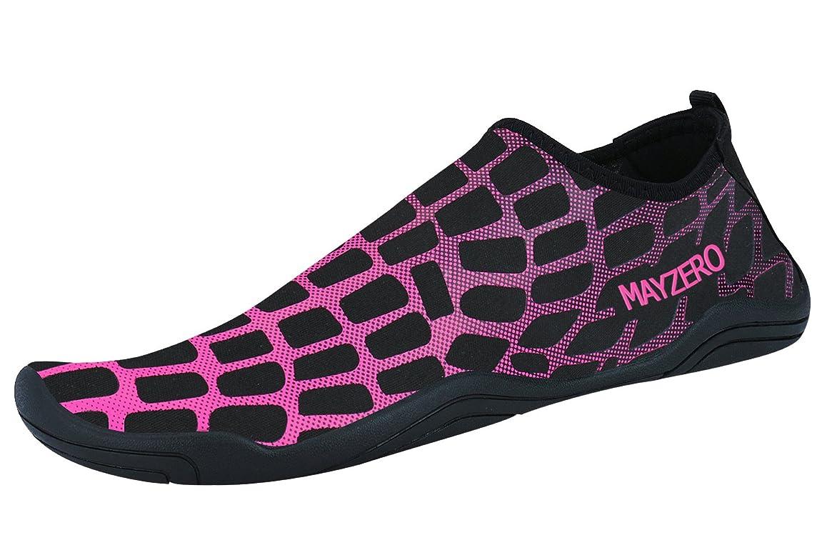 WXDZ Men Women Water Sports Shoes Quick Dry Barefoot Aqua Socks Swim Shoes (4.5 US Women/3 US Men, Grid-Rose)