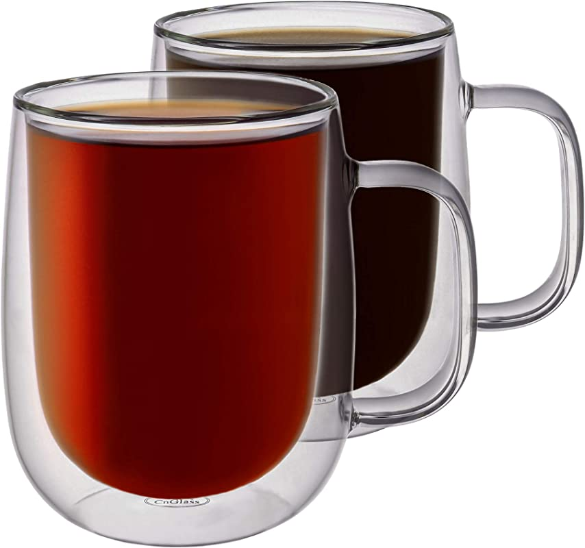 B Z Double Wall Insulated Glass Coffee Mugs Set Of 2 12 Oz 355 Ml Double Wall Tumbler Glass Cups For Drinking Tea Latte Juice Or Water