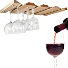 SMITCO Wine Glass Holder - Under Cabinet Storage for Hanging Stemware - Unfinished Wood Bar Rack to Organize 12 Glasses (Double) - 11 Inches Deep x 20 Inches Wide - Made in The USA