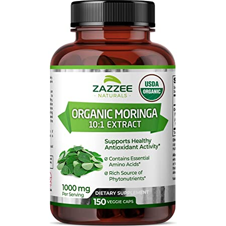 Zazzee USDA Organic Moringa Extract, 150 Vegan Capsules, 10,000 mg Strength per Serving, Potent 10:1 Extract, USDA Certified Organic, Non-GMO and All-Natural