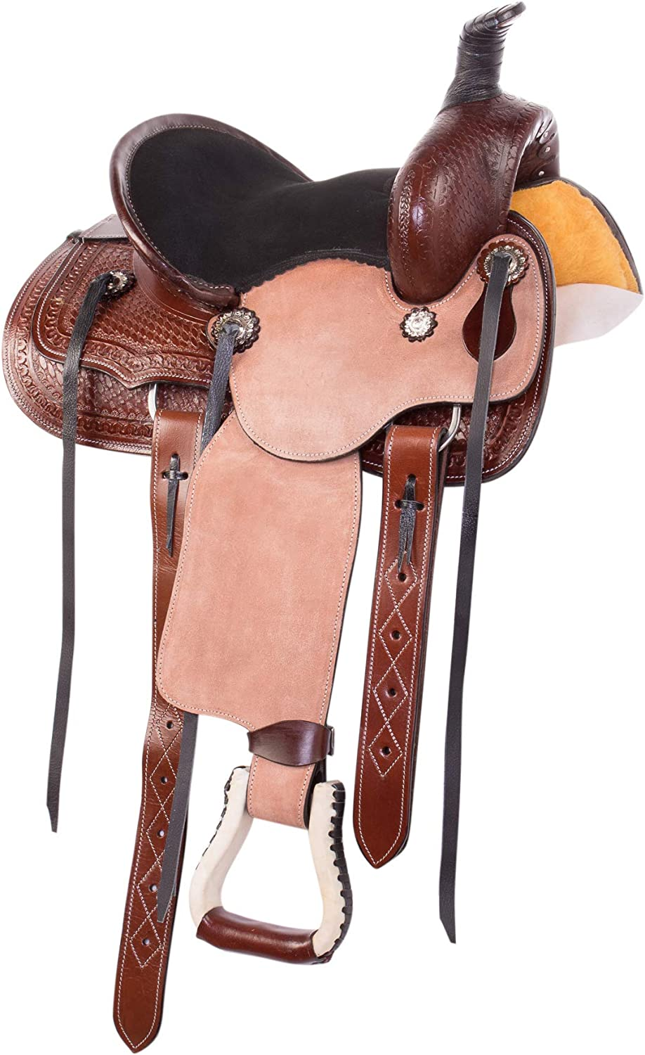 12 13 in WESTERN TOOLED LEATHER KIDS HORSE SADDLE PLEASURE TRAIL ROPING TACK