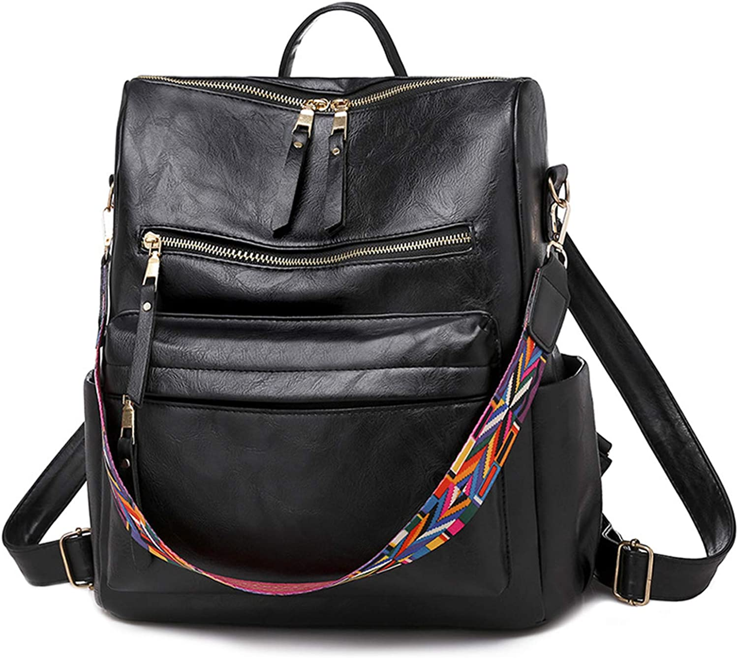 HOSTIC Women Backpack High order Retro In a popularity Large Travel Leather Casual PU Backp