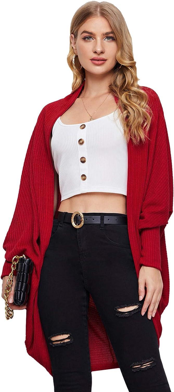SweatyRocks Women's Casual Oversized Open Front Dolman Long Sleeve Knit Cardigan Sweater
