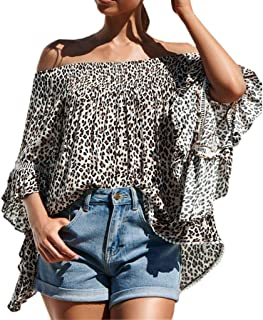 Tuaus Summer Sexy Women Flare Sleeve Blouse Casual Off Shoulder Leopard Print Shirt Tops