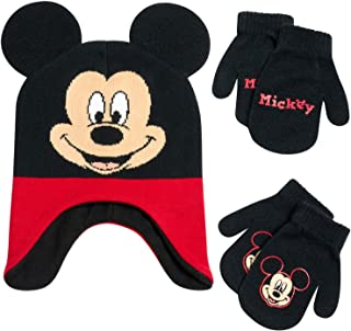 Disney Boys Mickey Mouse Winter Hat and 2 Pair Mitten or Gloves Set (Age 2-7) (Red/Black 3D Ear Mickey Glove, Age 2-4)