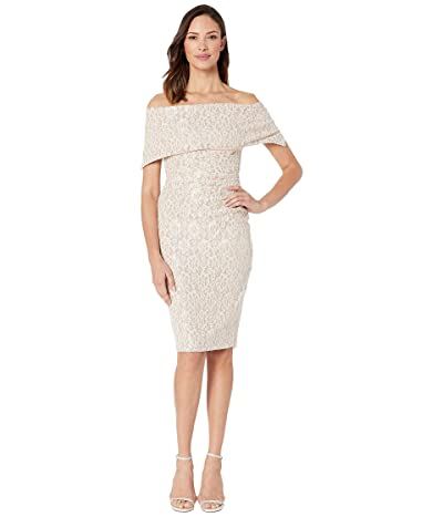 Vince Camuto Off the Shoulder Dress with Collar (Champagne) Women