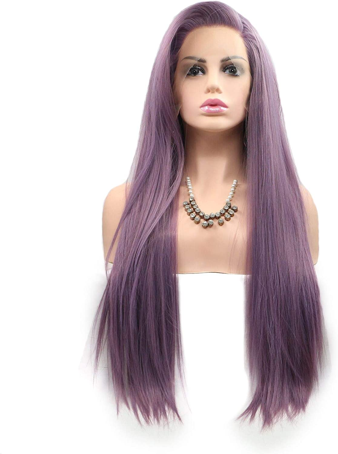 ZhengFei European And American Wig Purple Long Hair Half Hand Hook Front Lace Chemical Fiber Long Straight Hair Wig Wig Lady