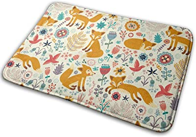 Cute Foxes Ornate Flowers Large Doormats, Non Slip Durable Washable Home Decorative Door Mats Rugs for Entrance Bedroom Bathroom Kitchen, 23 X 16 Inches