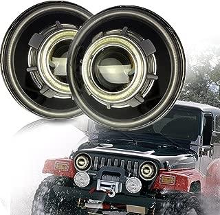 SXMA 7 Inch LED Headlights,LED Projector Headlights with Halo, Angel Eye, Demon Eye Headlights for Jeep Wrangler CJ LJ TJ JK Rubicon Sahara Hummer (Jeep Angel Eye Headlights - A)