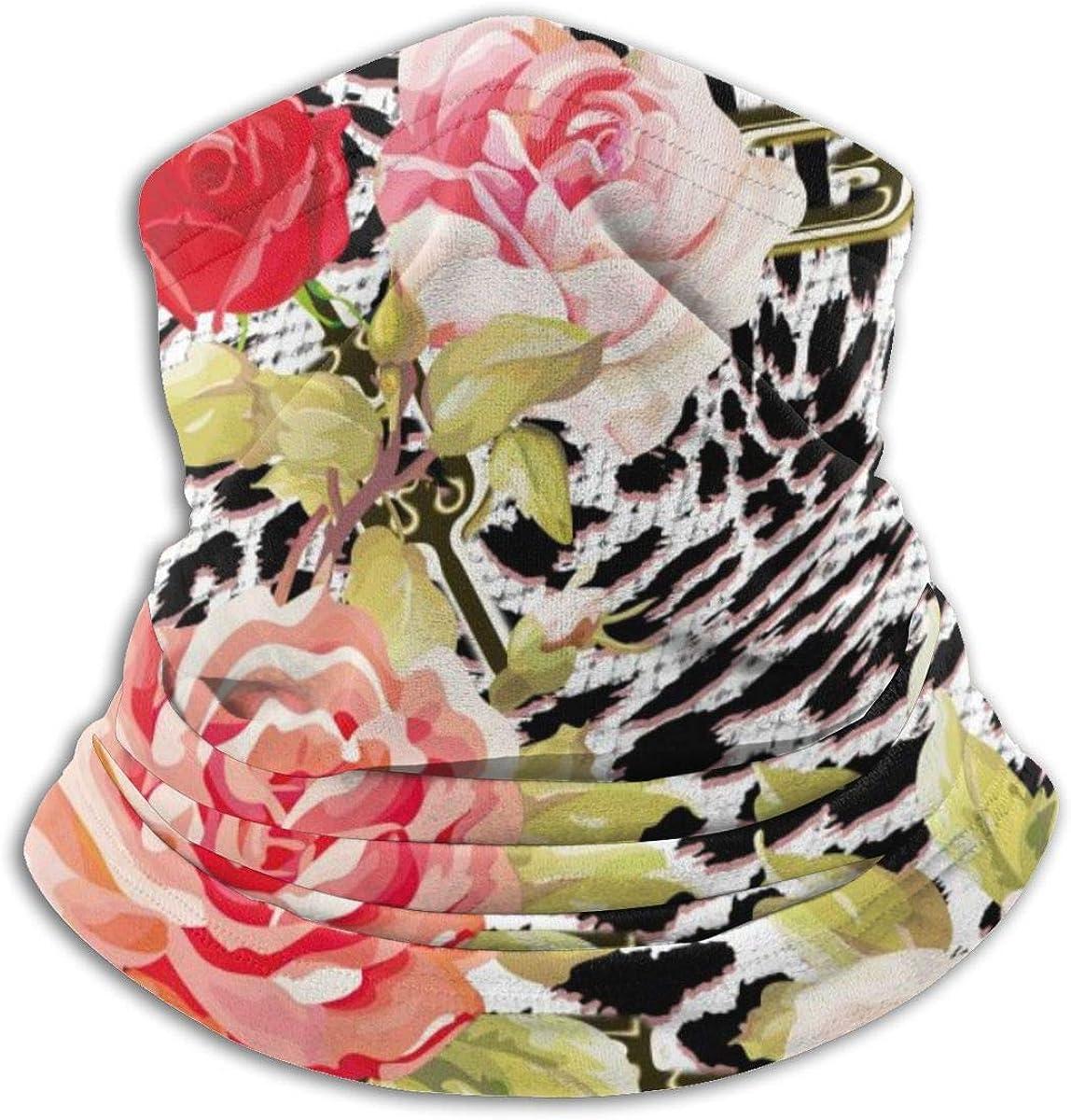 SLHFPX Neck Gaiter Face Mask Animal Leopard Print And Pink Rose Flowers Half Balaclava Ski Masks for Women Men Adult