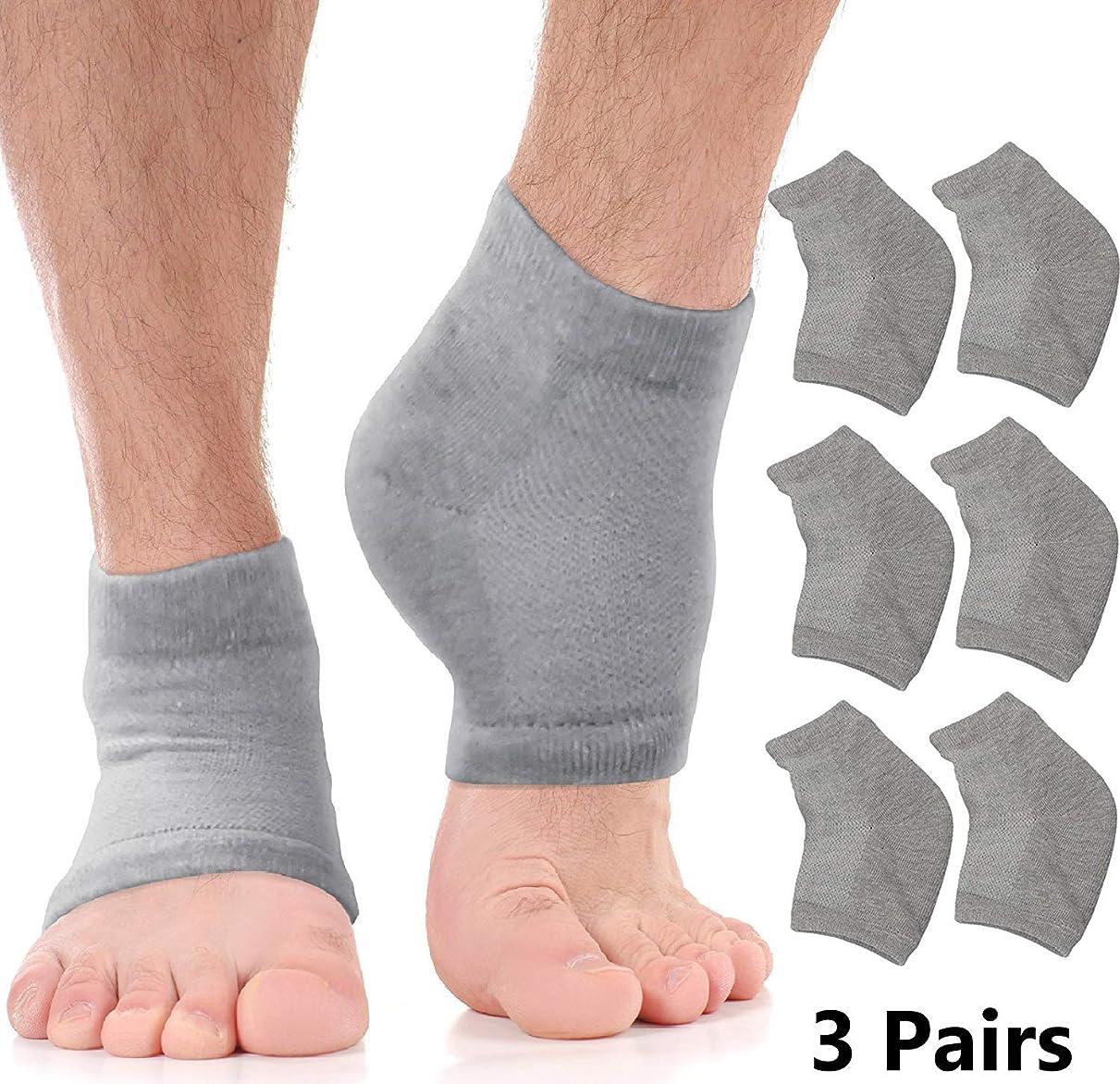 頭痛独裁者ヒロインモイスチャライジングソックスクラックトヒールトリートメント-乾燥した足とかかとを素早く扱います。 アロエモイスチャライザーローションを注入したジェルヒールソックスで、ひび割れた足の皮膚の痛みを和らげます。 女性と男性の両方のためのペディキュア (Large - Value Pack 3 Pairs)