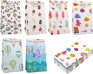 Zooawa Sacchetti Regalo, [48 Pezzi] Sacchetti Regalo in Carta Kraft Premium con Pattern Carino Busta in Carta con Adesivi ...