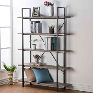 HSH 5-Shelf Vintage Industrial Rustic Bookshelf, Wood and Metal Bookcase, Open Etagere Book Shelf, Gray Oak