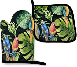 Watercolor Pattern Of Tropical Leaves, Dense Jungle And Parrot Oven Mitts And Pot Holders Sets Non-Slip Kitchen Counter Sa...