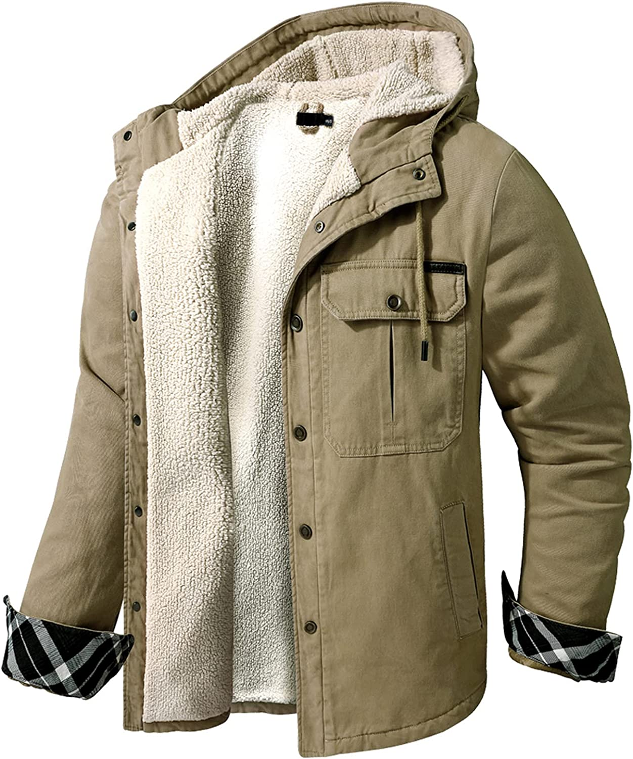 Men's Winter cheap Thick Jacket - Parka Max 49% OFF Hooded Lined Warm Wool